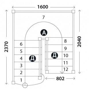 П-образная лестница на второй этаж «Восток-Элегант» ПП-800-01