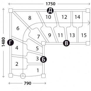 Г-образная лестница «Восток-Элегант» ГШГ-790-11
