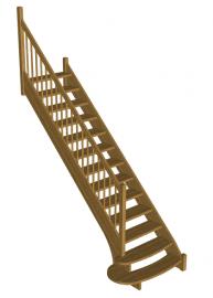 Деревянная лестница с прямым маршем «Восток-Элегант» ПМ-950-01