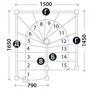 П-образная лестница «Восток-Элегант» П-790-04