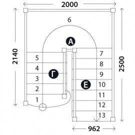 Лестница на второй этаж «Восток-Элегант» ПП-950-05