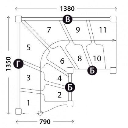 Г-образная лестница «Восток-Элегант» ГШГ-790-08