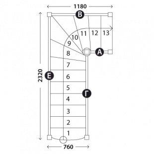 Г-образная лестница «Восток-Элегант» Г-760-23