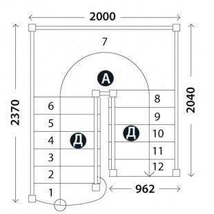 Деревянная лестница «Восток-Элегант» ПП-950-01