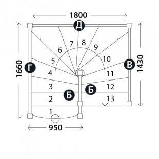 Лестница на второй этаж «Восток-Элегант» П-950-05