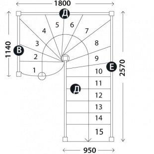 Лестница в коттедж «Восток-Элегант» П-950-23