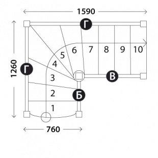 Г-образная лестница «Восток-Элегант» Г-760-15