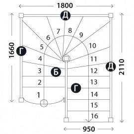 Лестница в коттедж «Восток-Элегант» П-950-28