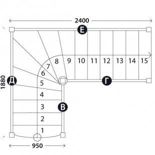 Лестница для дома «Восток-Элегант» Г-950-20
