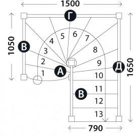 П-образная лестница «Восток-Элегант» П-790-05