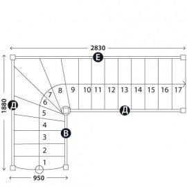 Лестница в коттедж «Восток-Элегант» Г-950-42