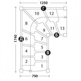 Г-образная лестница «Восток-Элегант» ГШГ-790-07
