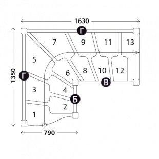 Г-образная лестница «Восток-Элегант» ГШГ-790-01