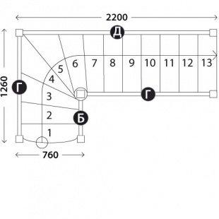 Г-образная лестница «Восток-Элегант» Г-760-13