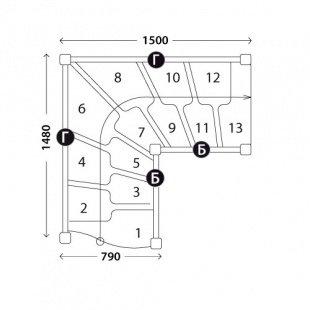 Г-образная лестница «Восток-Элегант» ГШГ-790-16