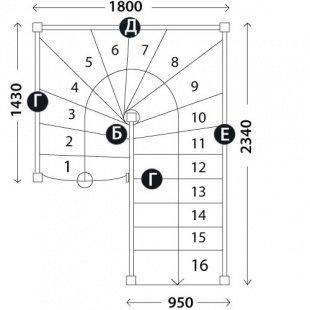 П-образная лестница на второй этаж«Восток-Элегант» П-950-18