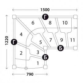 Г-образная лестница «Восток-Элегант» ГШГ-790-10