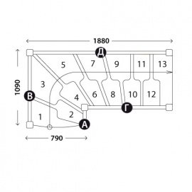 Лестницы гусиный шаг «Восток-Элегант» ГШГ-790-14