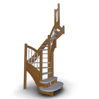 Деревянная п-образная лестница П2-790-35-ПМ2