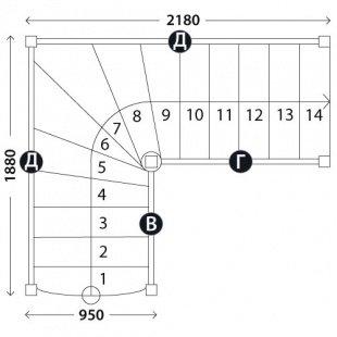 Лестница для дома «Восток-Элегант» Г-950-04