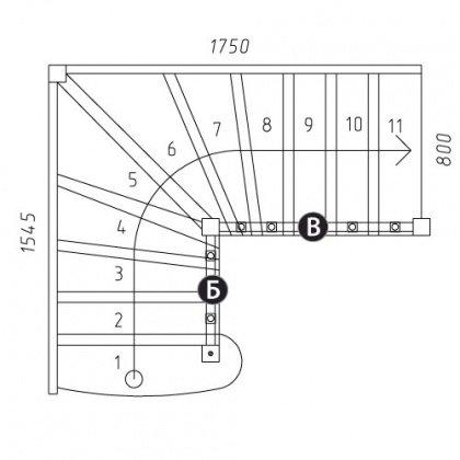"""Г-образная лестница """"Восток-Классик"""" Г-800-10"""