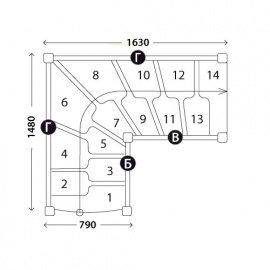 Г-образная лестница «Восток-Элегант» ГШГ-790-12