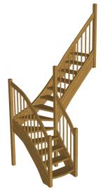 Г-образня лестница на второй этаж «Восток-Элегант» Г-760-01