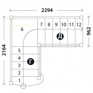Лестница с площадкой «Восток-Элегант» ПГ-950-02