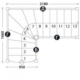 Готовая лестница «Восток-Элегант» Г-950-01