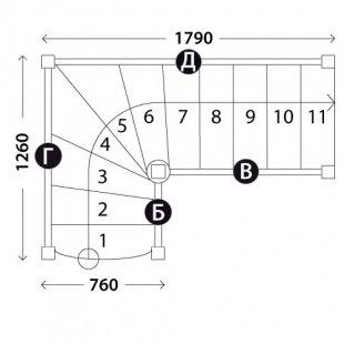 Лестница в баню «Восток-Элегант» Г-760-05
