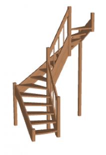 Лестница в коттедж «Восток-Элегант» П2-790-17